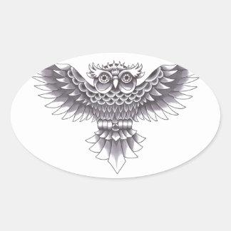 Old School Owl Tattoo Design Oval Sticker