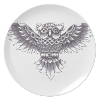 Old School Owl Tattoo Design Plate