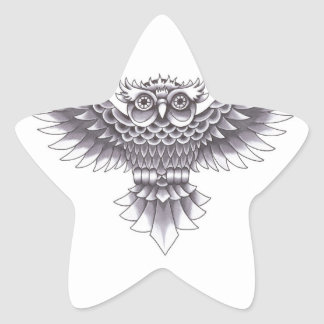 Old School Owl Tattoo Design Star Sticker
