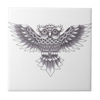 Old School Owl Tattoo Design Tile