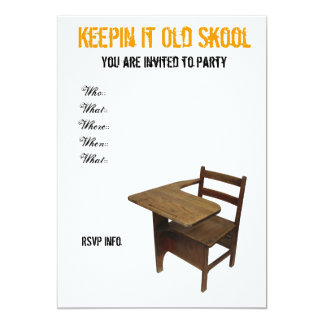 "Old School Party 5"" X 7"" Invitation Card"