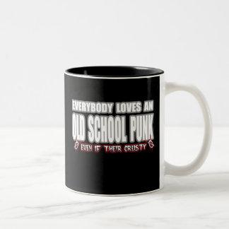 OLD SCHOOL PUNK ROCK guy girl crusty punks Two-Tone Coffee Mug
