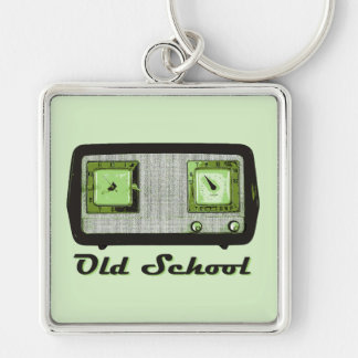 Old School Radio Retro Vintage Silver-Colored Square Keychain