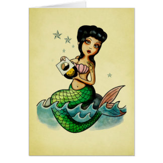 Old School Reggae Mermaid Card