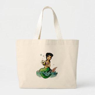 Old School Reggae Mermaid Large Tote Bag