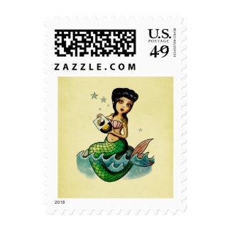 Old School Reggae Mermaid Postage Stamps