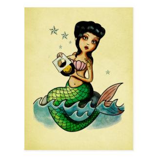 Old School Reggae Mermaid Post Card