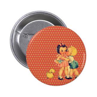 old school retro polka dots kitsch Vintage Kids Button