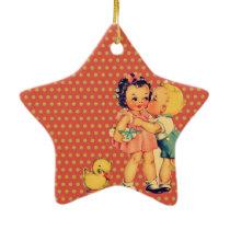 old school retro polka dots kitsch Vintage Kids Ceramic Ornament