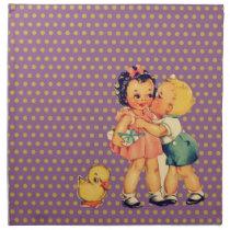 old school retro polka dots kitsch Vintage Kids Cloth Napkin