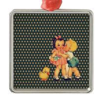 old school retro polka dots kitsch Vintage Kids Metal Ornament
