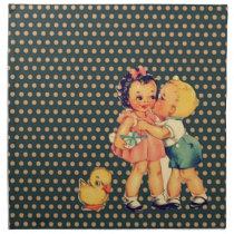 old school retro polka dots kitsch Vintage Kids Napkin