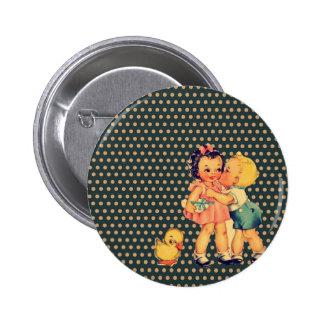 old school retro polka dots kitsch Vintage Kids Pinback Button