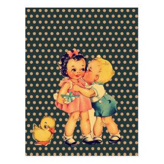 old school retro polka dots kitsch Vintage Kids Postcard