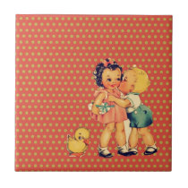 old school retro polka dots kitsch Vintage Kids Tile