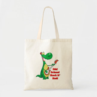 old school rock n roll dinosaur playing guitar canvas bags