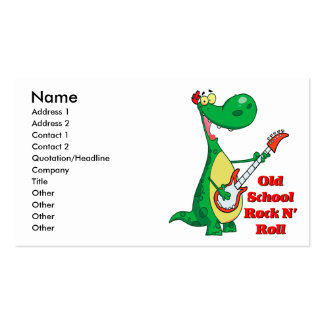 old school rock n roll dinosaur playing guitar business card template