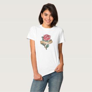Old school rose rockabilly tattoo design tee shirt