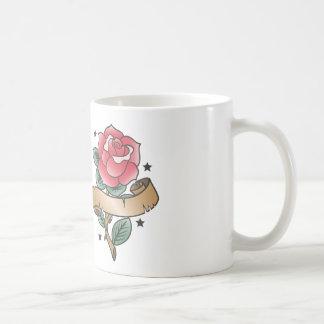 Old school rose tattoo with scroll coffee mug
