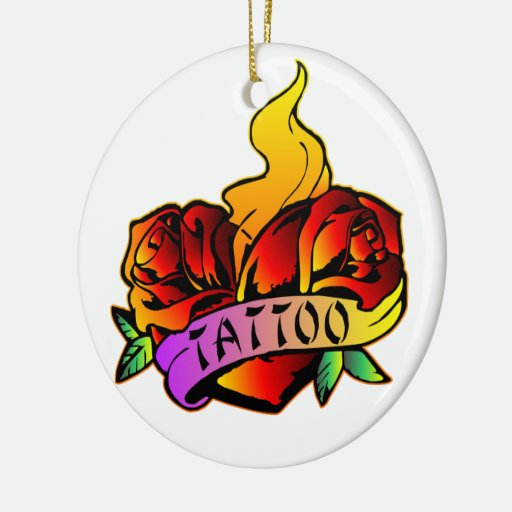 old school roses tattoo christmas ornaments