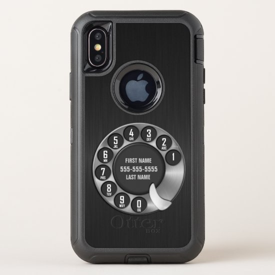 Old School Rotary Dial Phone OtterBox Defender iPhone X Case