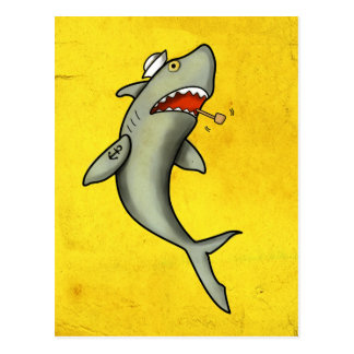 Old School Sailor Shark Postcard