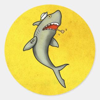 Old School Sailor Shark Round Stickers
