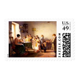 Old School Scene Painting Postage Stamps