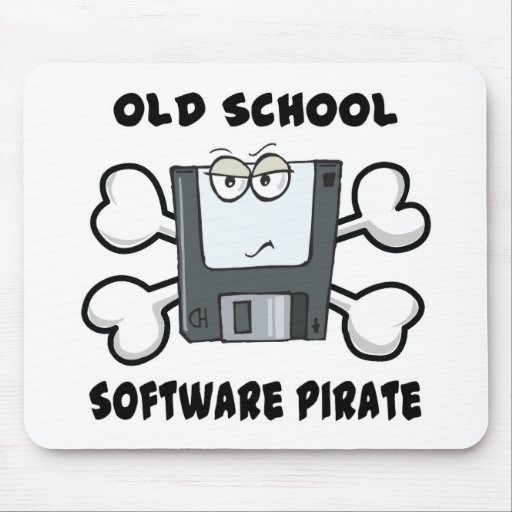 old school software pirate Skull and Crossbones Mouse Pads