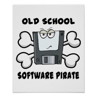 old school software pirate Skull and Crossbones Print