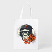 swag, monkey, funny, graffiti, urban, old school, 90's, vintage, cool, reusable bag, street art, hip hop, old school monkey, earphone, fashion, fun, design, grafik'prod, reusable, grocery, bag, [[missing key: type_reusableba]] with custom graphic design