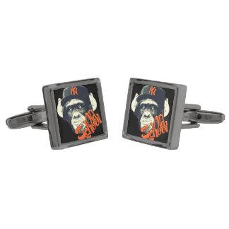 Old school swag monkey gunmetal finish cufflinks