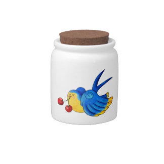 Old School Swallow with Cherry Candy Jars
