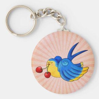 Old School Swallow with Cherry Keychain