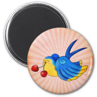 Old School Swallow with Cherry Fridge Magnet