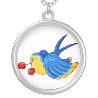 Old School Swallow with Cherry Pendant