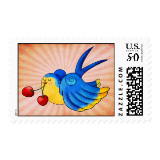 Old School Swallow with Cherry Postage
