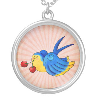 Old School Swallow with Cherry Round Pendant Necklace