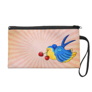 Old School Swallow with Cherry Wristlet Purse
