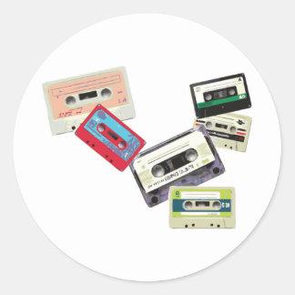 old school tape decks round stickers