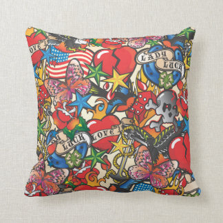 Old School Tattoo Covered Pillow