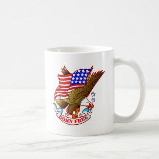 Old School Tattoo Eagle, Flag & Born Free Coffee Mug