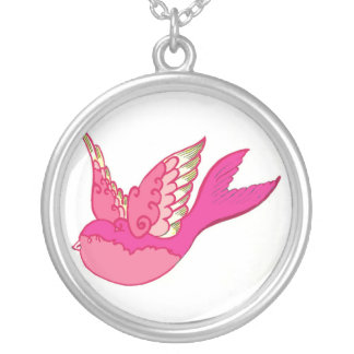 Old school tattoo pink bird personalized necklace
