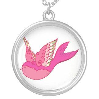 Old school tattoo pink bird round pendant necklace