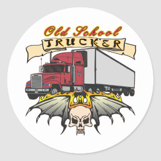 Old School Truck Driver Classic Round Sticker
