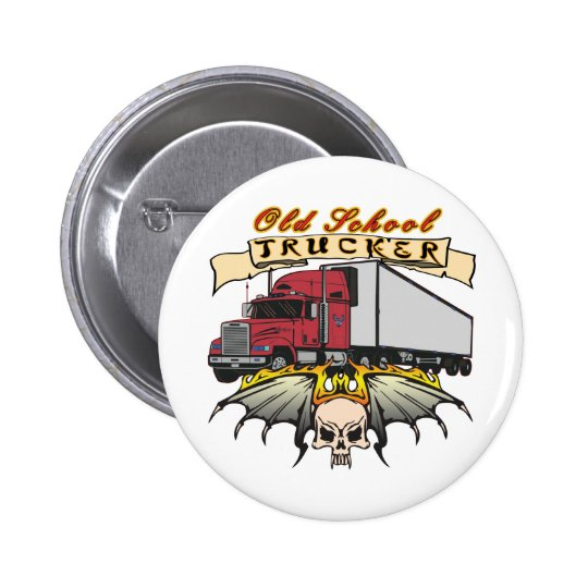 Old School Truck Driver Pinback Button