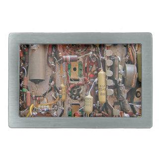 old school vintage circuit board with resistors belt buckle