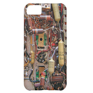 old school vintage circuit board with resistors cover for iPhone 5C