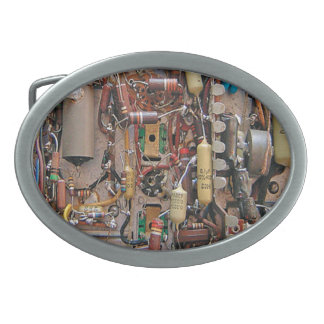 old school vintage circuit board with resistors oval belt buckle