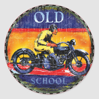 Old School vintage motorcycles Classic Round Sticker
